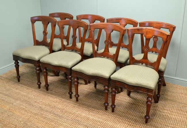 Set of Eight Antique Victorian Mahogany Dining Chairs by Reilly's of Manchester.