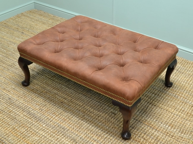 Large Superb Quality Upholstered Antique Foot Stool.
