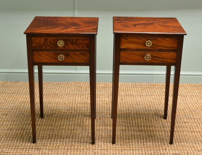 Pair of Victorian Antique Beautifully Figured Mahogany Bed Side Tables.