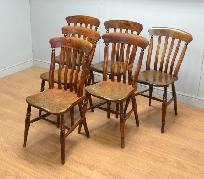 Set Of Six Antique Country Elm Kitchen Chairs Antiques World