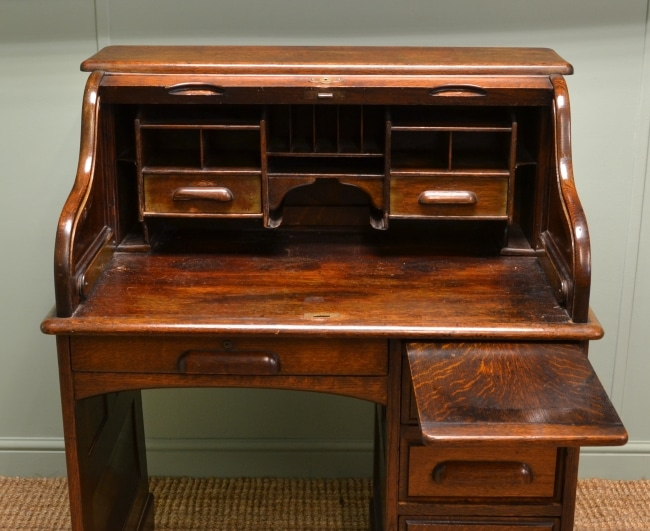 Small Edwardian Oak Roll Top Antique Desk.