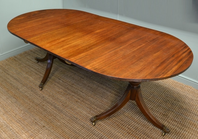 Mahogany Antique 'D' End Pedestal Dining Table