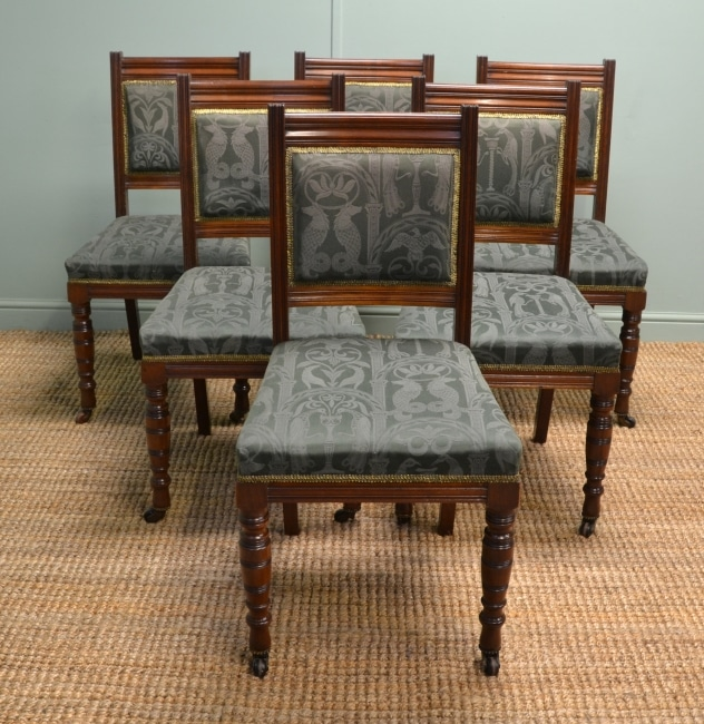 Set of Six Quality Victorian Mahogany Antique Dining Chairs by Roodhouse of Leeds.