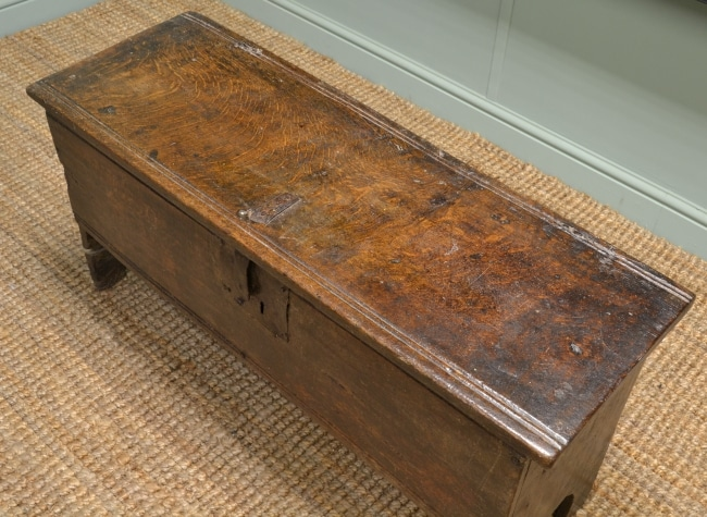 Early 17th Century Period Oak Six Plank Antique Coffer.