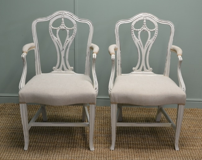Pair of Chippendale Antique Victorian Painted Walnut Side Chairs.
