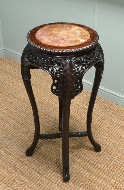 Victorian, Marble Top, Quality Carved Antique Plant Stand.