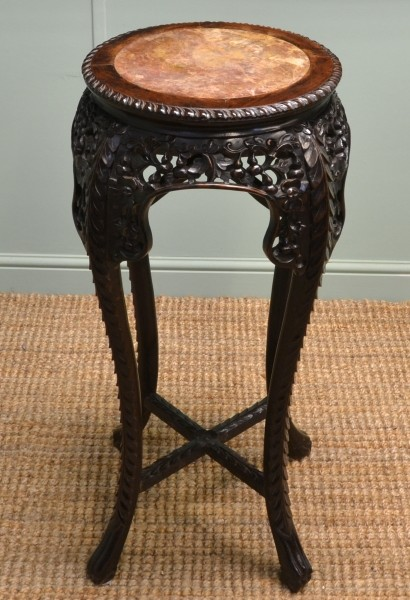 Victorian Marble Top Quality Carved Antique Plant Stand