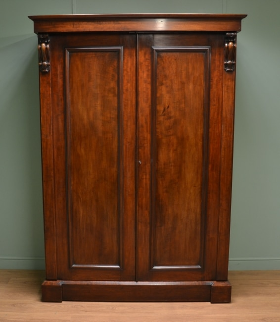 William IV Antique Mahogany Double Wardrobe.