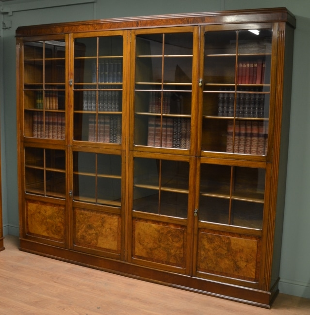 Pair of Large Burr Walnut Antique Victorian Library Bookcases.