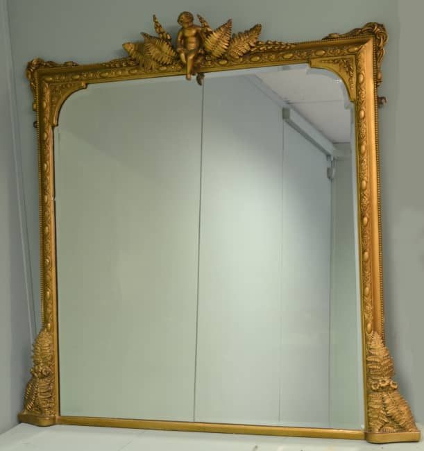Victorian Gilt Antique Cherub Over-Mantle Mirror.