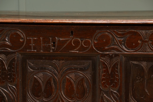 Antique Oak Beautifully Carved Inscribed Coffer.