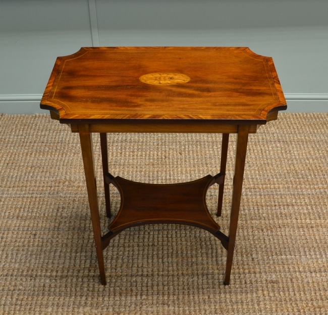 Beautiful Shell Inlaid Edwardian Mahogany Antique Occasional Table.