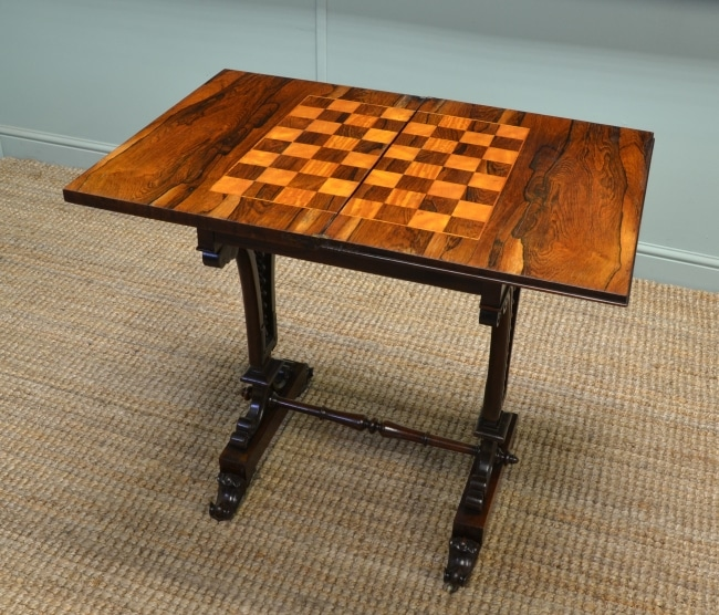 Antique Victorian Rosewood Chess Table
