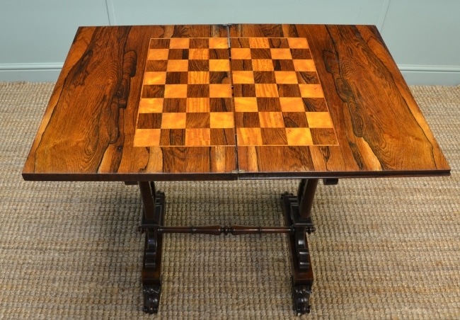 Victorian Rosewood Chess Table when open