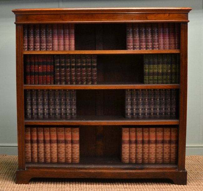 Victorian Walnut Large Antique Open Bookcase.