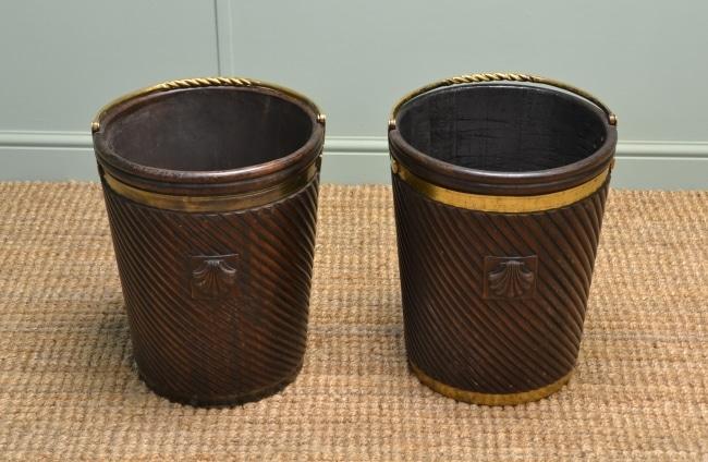 Rare Pair of Decorative Antique Peat Buckets.
