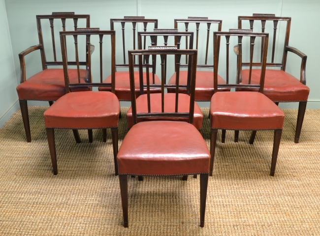Set of Eight Antique Victorian Mahogany & Leather Dining Chairs.