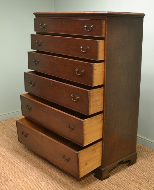 Unusual Tall Antique Georgian Oak Chest of Drawers / Tallboy.