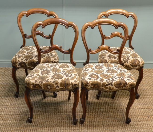 Set of Four Victorian Rosewood Antique Dining Chairs.