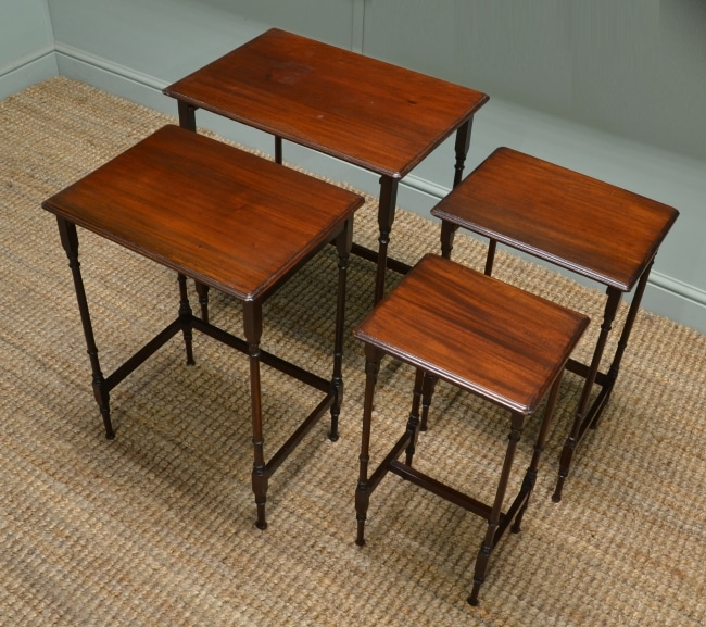 Antique Edwardian Mahogany Nest of Tables. These four nesting antique tables