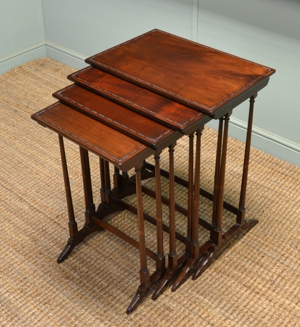Set of Four Quality Edwardian Antique Mahogany Nesting Tables.