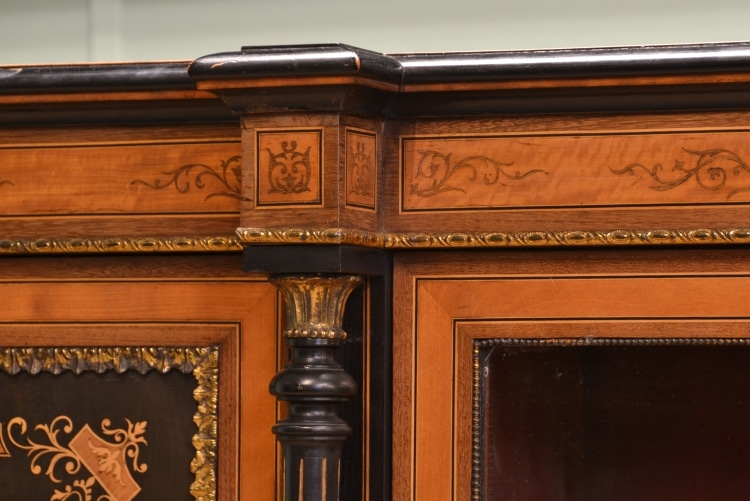 Magnificent Quality Ebonised & Satinwood Inlaid Antique Credenza.