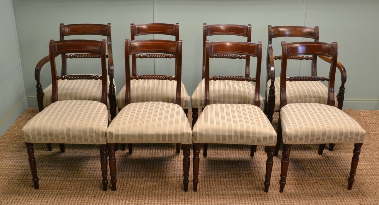 Set of Eight Antique Regency Rope Twist Back Mahogany Dining Chairs