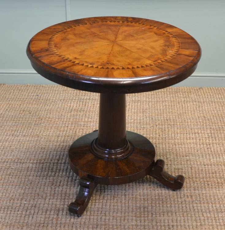 Rare Antique Victorian Yew & Walnut Small Centre Table.