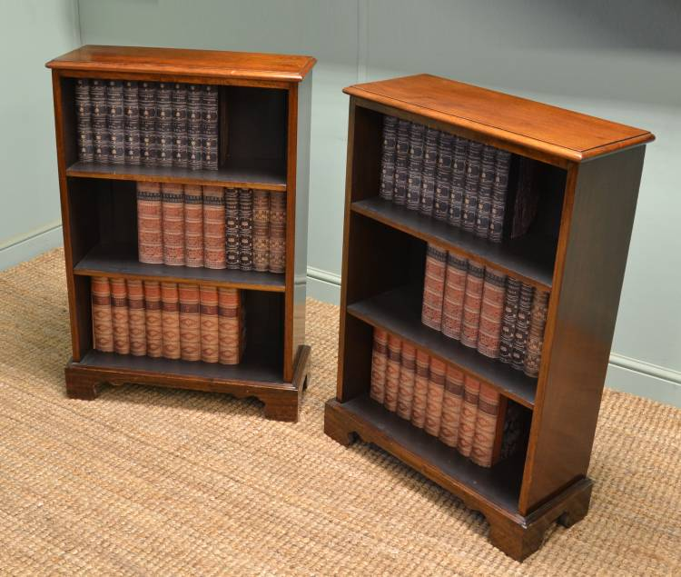 Unusual Pair of Walnut Antique Open Bookcases
