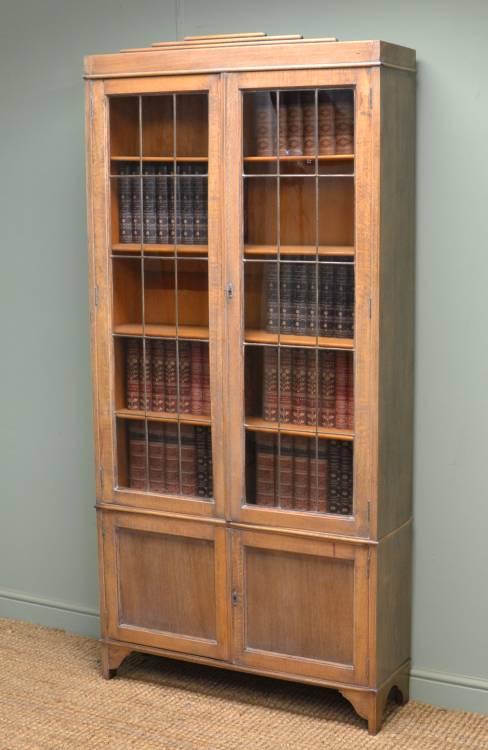 Stylish Art Deco Limed Oak Bookcase.