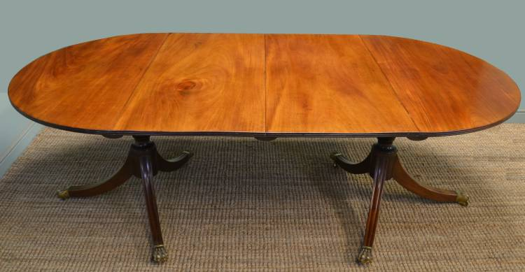 19th century Regency twin pedestal antique dining table