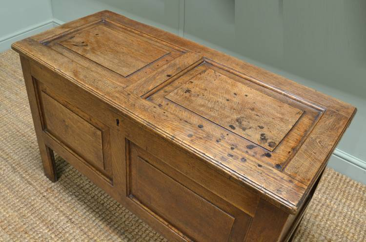 18th Century Lovely Period Oak Antique Panelled Coffer.