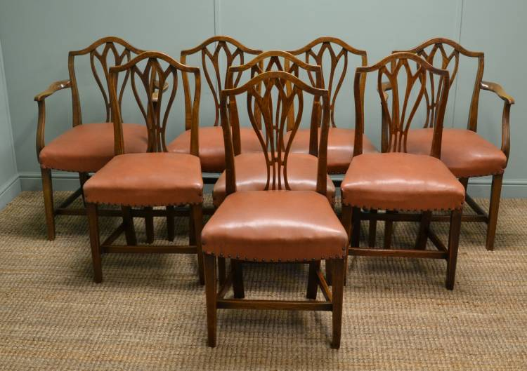 Set of Eight Georgian Country Elm Antique Dining Chairs.