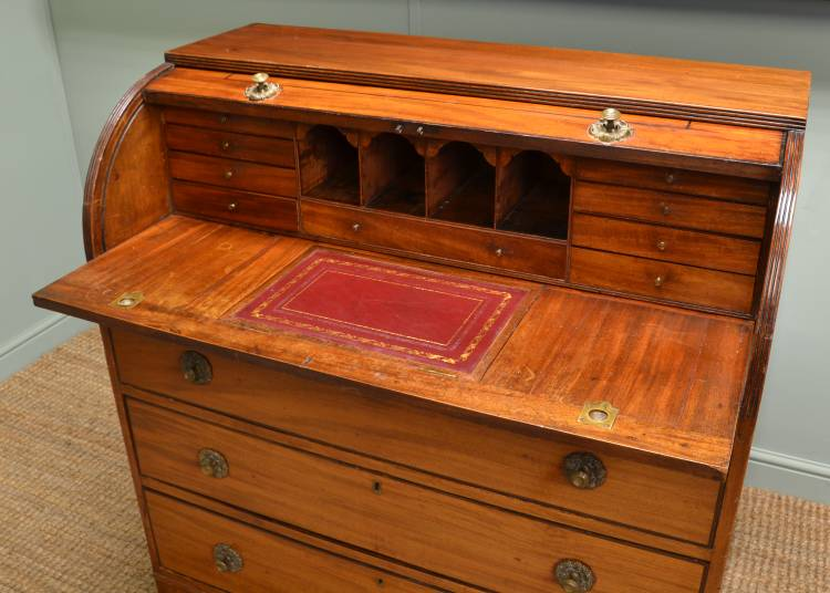 Victorian Mahogany Antique Cylinder Desk. - Antique Cylinder Desk - Antiques World