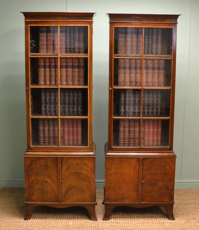 Pair of Victorian Antique Mahogany Bookcases.