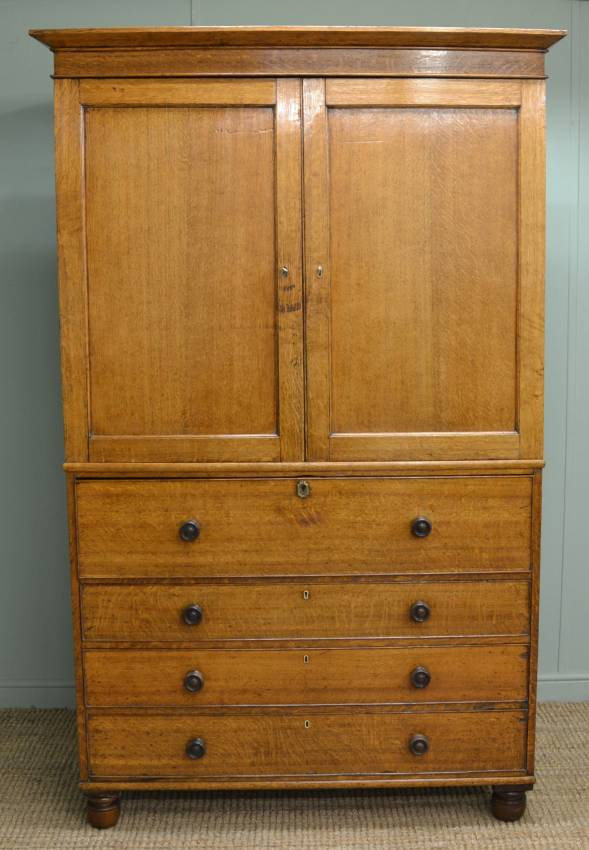 Magnificent Regency Oak Secretaire Cupboard – Press