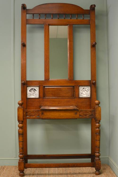 Quality Antique Victorian Oak Hall Stand with Minton Tile Inserts.