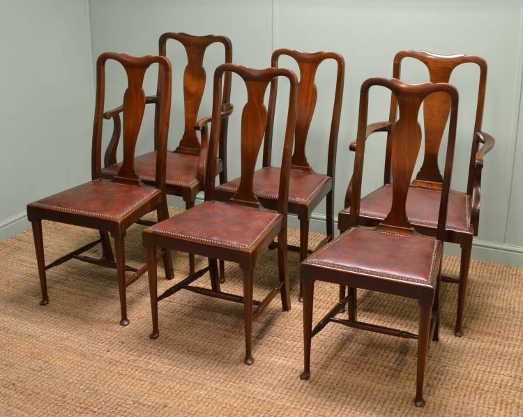 Set of Six Fine Edwardian Mahogany Antique Dining Chairs.