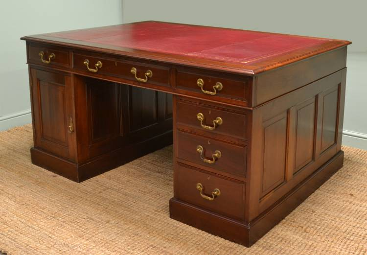 Large Solid Walnut Victorian True Antique Partners Desk.