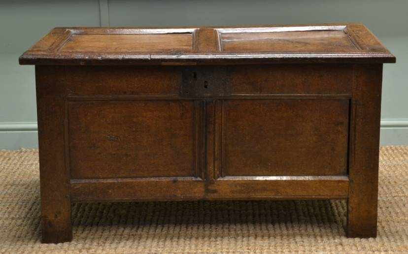 Small Period Antique Oak Coffer – Bedding Box
