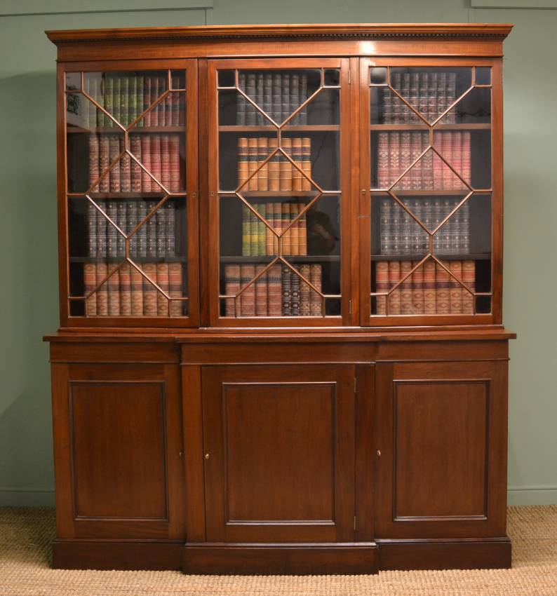 Large Antique Victorian Break Fronted Mahogany Library Bookcase.