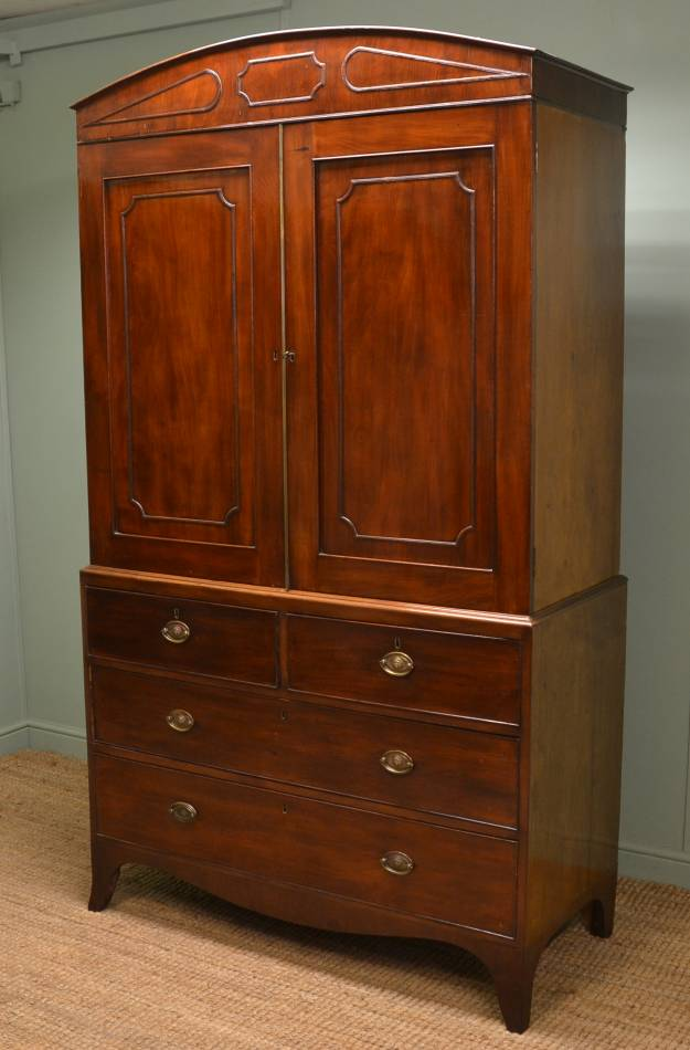 Fine Regency Mahogany Antique Linen Press.