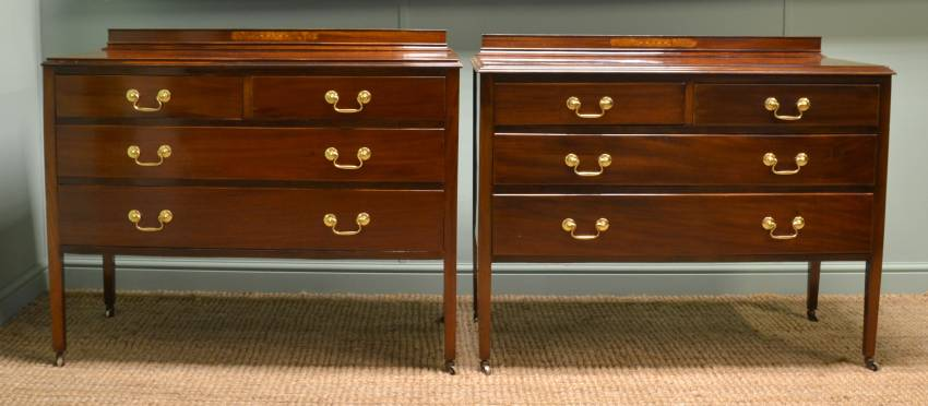 Unusual Pair of Edwardian Mahogany Inlaid Antique Chest of Drawers.