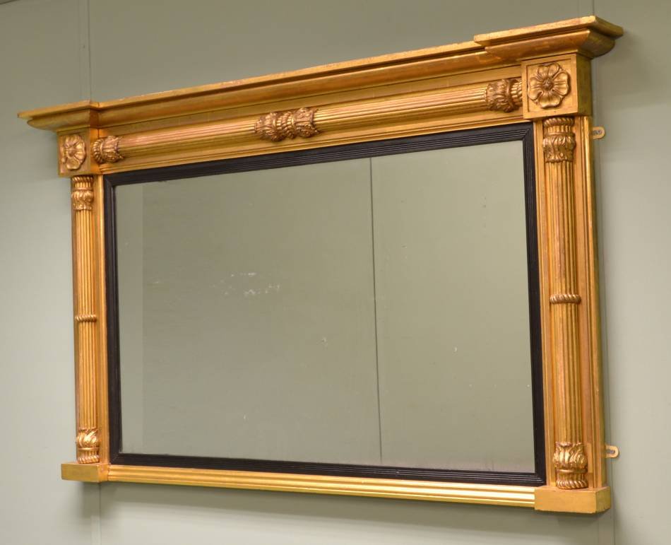 Antique Regency Decorative Gilt Overmantle Mirror.