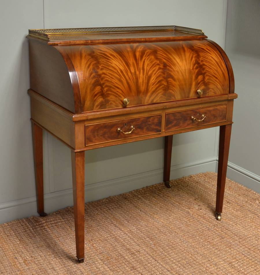 Superb Quality Edwardian Antique Flamed Mahogany Cylindrical Writing Desk. - Antique Cylinder Desk - Antiques World