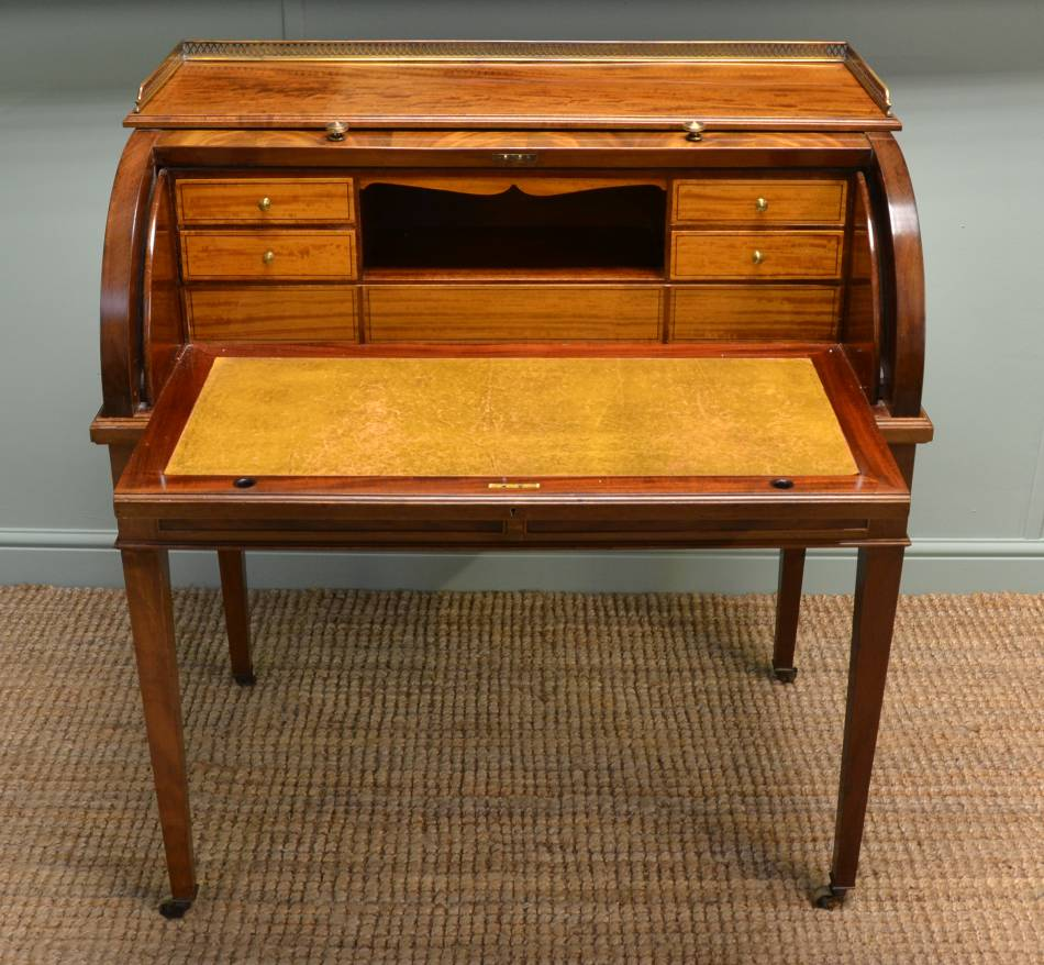 Superb Quality Edwardian Antique Flamed Mahogany Cylindrical Writing Desk.