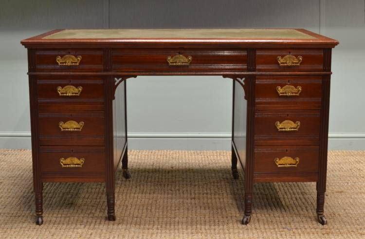 Quality Victorian Walnut Antique Desk by T Wallis & Co.