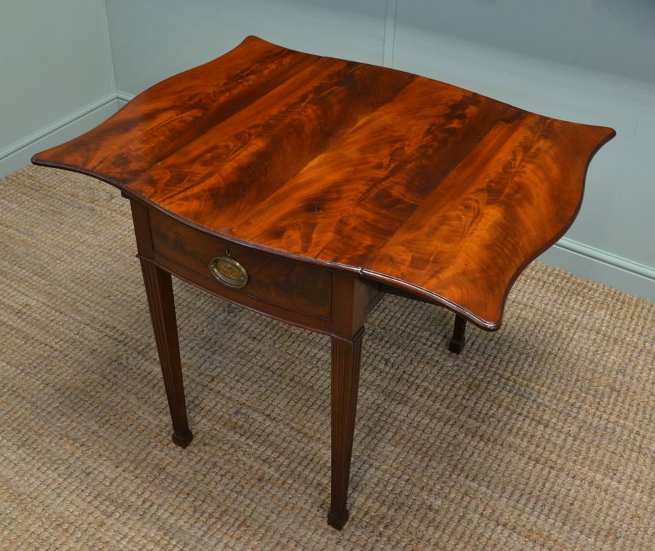 Victorian, Flamed Mahogany, Small Antique Serpentine Pembroke Table.