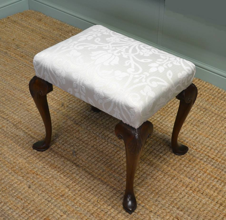 Quality, Queen Anne Design, Antique Edwardian Walnut Upholstered Stool.