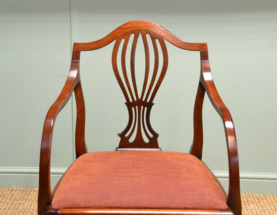 Pair of Regency Mahogany Antique Carver Armchairs.